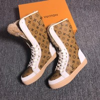 LOUIS VUITTON Rabbit hair fashionable leisure boots