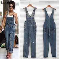 Fashion Women Denim Jumpsuit Ladies Spring Fashion Loose Jeans Rompers Female Casual Plus Size Overall Playsuit With Pocket