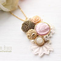 Lovely necklace, elegant necklace, cute vintage necklace, button necklace,gold chain, vintage button necklace, perfect gift,pink button,