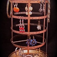 COPPER REDDISH BROWN Earring Go Round Jewelry Accessory Stand, Holder, Organizer, Display, Tree, Tabletop, Rack, Tower, Made of Metal and Spins LARGE SIZE