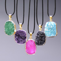 Colorful Natural Stone Irregular Necklaces Nature Amethyst Drusy Agate Pendant Leather Chains Necklace Gift Jewelry