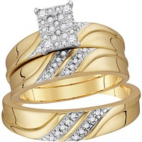 10k Yellow Gold Diamond Cluster Matching Trio His & Hers Wedding Ring Band Set 1/3 Cttw 109957