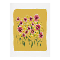 Joy Laforme Pansies in Pink and Chartreuse Art Print