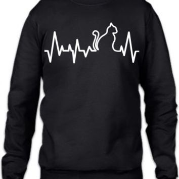 Cat Heartbeat Line Crewneck Sweatshirt