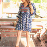 Fall for it Babydoll Dress-  Navy