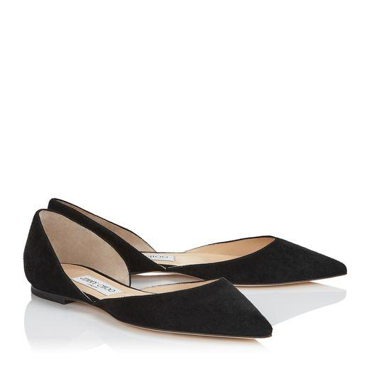 black suede pointy toe flats darylin from jimmy choo