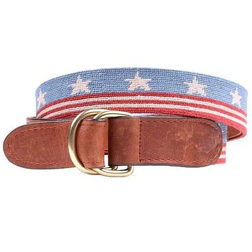 Vintage Old Glory Needlepoint D-Ring Belt by Smathers & Branson