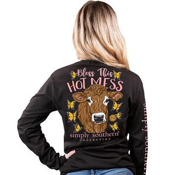 Simply Southern Bless This Hot Mess Cow Butterfly Long Sleeve T-Shirt