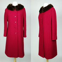 1950s pink coat, magenta fuchsia wool swing coat with fur collar, winter warm coat