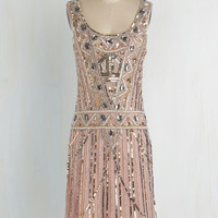 Vintage Inspired Long Sleeveless Shift Extravagant Evening Dress