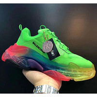 Balenciaga Triple S 3.0 retro-enhanced casual running shoes Green colorful soles