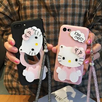 OnePlus 5T case Mirror Cartoon Hello Kitty Cases , Mirror Soft Gel Phone Cases For One plus X / 1 / 2 / 1+3T/ 1+5 Coque Fundas