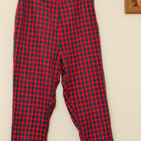 Vintage 60s Cigarette Pants / 60s Plaid Pants  / Red and Green Tartan / SIde Zipper / Large Size