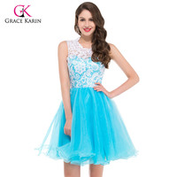Grace Karin cheap Blue Black Yellow Lace Short puffy Prom Dresses 2016 high neck Ball gowns Party homecoming dresses 6123