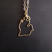 Custom State Love Necklace- Michigan State Necklace- Personalized Necklace- Any State or Country- Silver or Gold