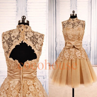 Champagne Lace Tulle Short Prom Dresses, New Bridesmaid Dresses 2015, Open Back Party Dresses, Evening Dresses,Homecoming Dresses,Sexy Dress