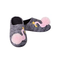 Royal Flamingo Pom Pom Summery Slippers in Grey and Pink | Slip-On Soft Fluffy Slides | House Shoes | Indoor Shoes