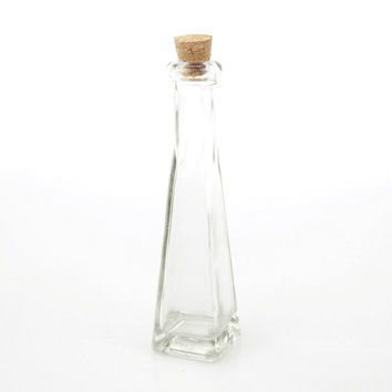 Glass Jar Favors Corked Bottle, 7-inch, Square