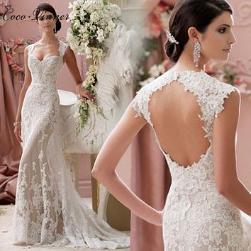 C.V 2017 Sexy White Lace Wedding Dress Backless Sleeveless Mermaid Wedding Bridal Gowns Sweep Train