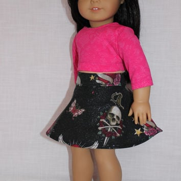 18 inch doll clothes, circle skirt with skulls, hearts, daggers and pink lace look crop top, american girl, Maplelea