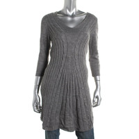 NY Collection Womens Cable-Knit 3/4 Sleeves Tunic Sweater