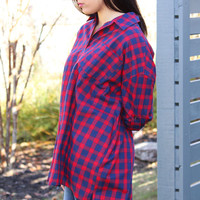 Red Navy Plaid Button Up Tunic
