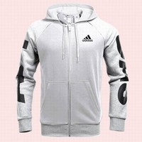 """Adidas"" Fashion Men Leisure Hooded Print Zip Cardigan Jacket Coat Sweater Grey"