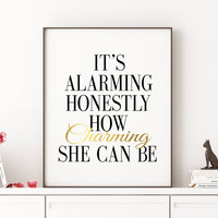 "Lana Del Rey poster Lana Del Ray wall art Inspirational Quote ""It's Alarming Honestly How Charming She can be"" LANA DEL REY Music Lyrics"