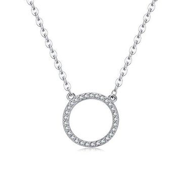 Sterling Silver Open Circle Necklace - 925 Silver Circle of Life With Cubic Zirconia Stone Necklace for Women