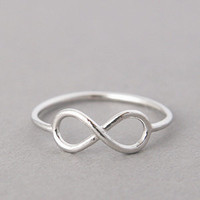 WHITE GOLD INFINITY RING INFINITY SYMBOL RING by kellinsilver jewelry