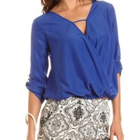 Surplice Front Roll-Cuff Blouse: Charlotte Russe