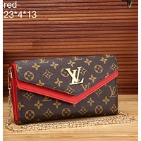 LV 2018 counter new trend fashion high quality leather handbag metal chain bag F-MYJSY-BB Red