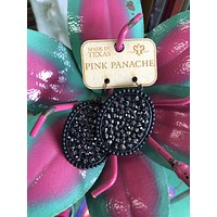 1E381BLBL Matte black oval with black crystals earrings