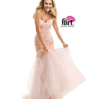 (PRE-ORDER) Flirt by Maggie Sottero 2014 Prom Dresses - Blush Strapless Tulle Dress with Sequin Lace