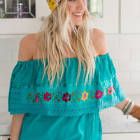 Aqua Off The Shoulder Mexicali Blouse