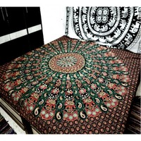Large Green Feather Motif Indian Mandala Tapestry Wall Hanging Bedspread Dormitory Decoration