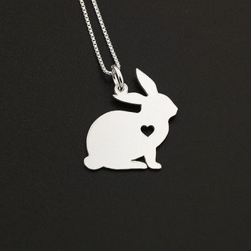 Bunny necklace sterling silver Rabbit necklace pendant w/ Heart - Love Pet Jewelry Italian chain Women Best Cute pet Gift , Memorial Gift