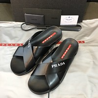 prada popular summer womens flats men slipper sandals shoes 13
