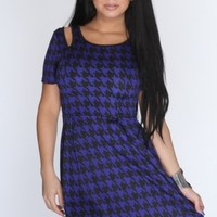 Royal Blue Black Houndstooth Dress @ Amiclubwear sexy dresses,sexy dress,prom dress,summer dress,spring dress,prom gowns,teens dresses,sexy party wear,women's cocktail dresses,ball dresses,sun dresses,trendy dresses,sweater dresses,teen clothing,evening c