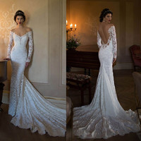 Long Sleeve white lace Mermaid  Berta Bridal 2016 Lace Boho evening Dresses Sexy Backless Off The Shoulder Bridal Gown