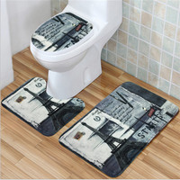 3Pcs Sell Velvet Fabric Non-Slip Carpet Pedestal Rug Super Absorb Floor Mat + Lid Toilet Cover + Bath Mat Door Bathroom Product