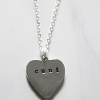 C*nt Heart Necklace Custom personalized feminist profanity mature  sexy kawaii