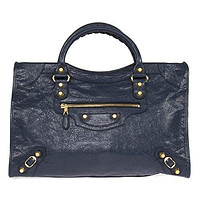 Balenciaga Women's Giant City Leather Bag, Bleu Obscur