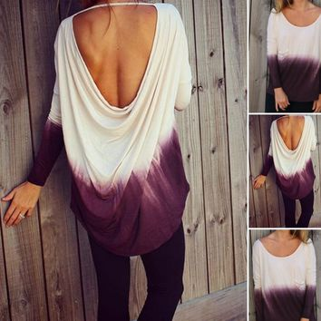2016 new winter long-sleeved T-shirt hanging with gradient