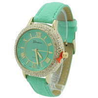 4 Row CZ Roman Numeral Leather Watch - Mint/Gold