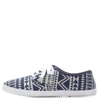 Navy Combo Tribal-Woven Canvas Sneakers by Charlotte Russe