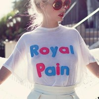 Wildfox Couture No Pain, No Gain Wrecked Crewneck Tee in Vintage Lace