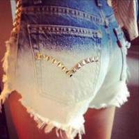 Fashion Gradient Rivet Denim Jeans Shorts Pants