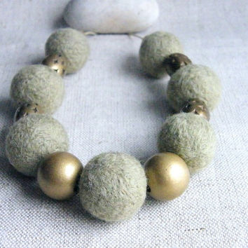 Felt Necklace Celadon Light Green Gold Felted Necklace Handmade Soft Felted Balls Felt Jewelry Eco Friendly Beadwork