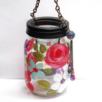 Hanging Glass Candle Lantern Painted Colorful Flowers Boho Chic Bohemian Decor FREE SHIPPING